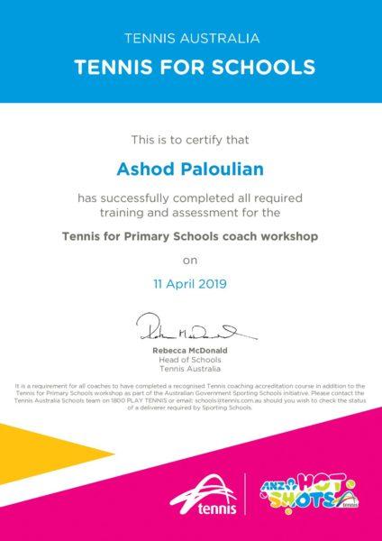 Tennis For Primary School Certificate